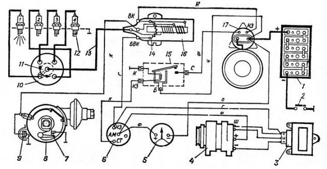 469 схема на уаз контактного зажигания